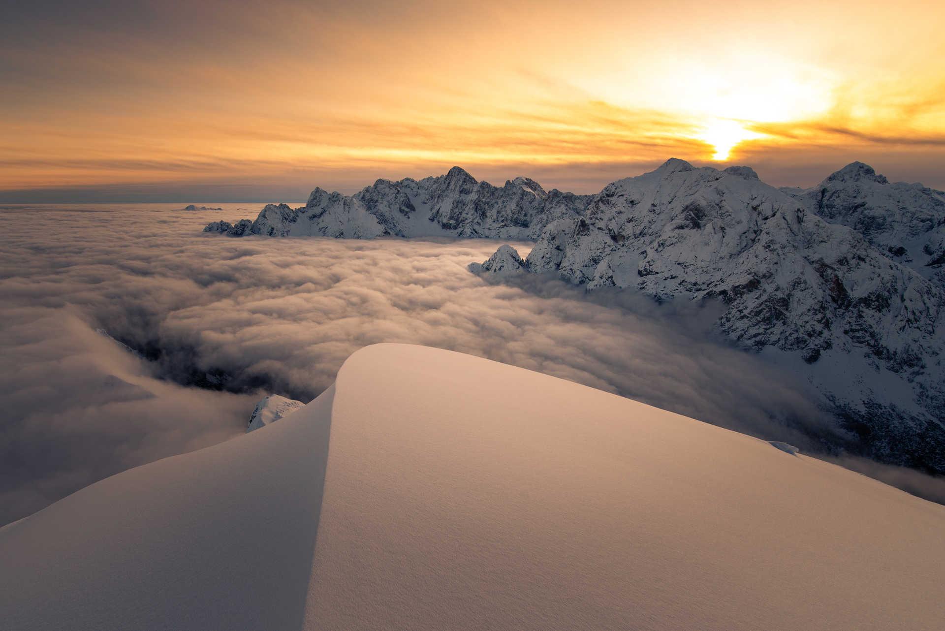 Sunrise in the Julian Alps, Slovenia