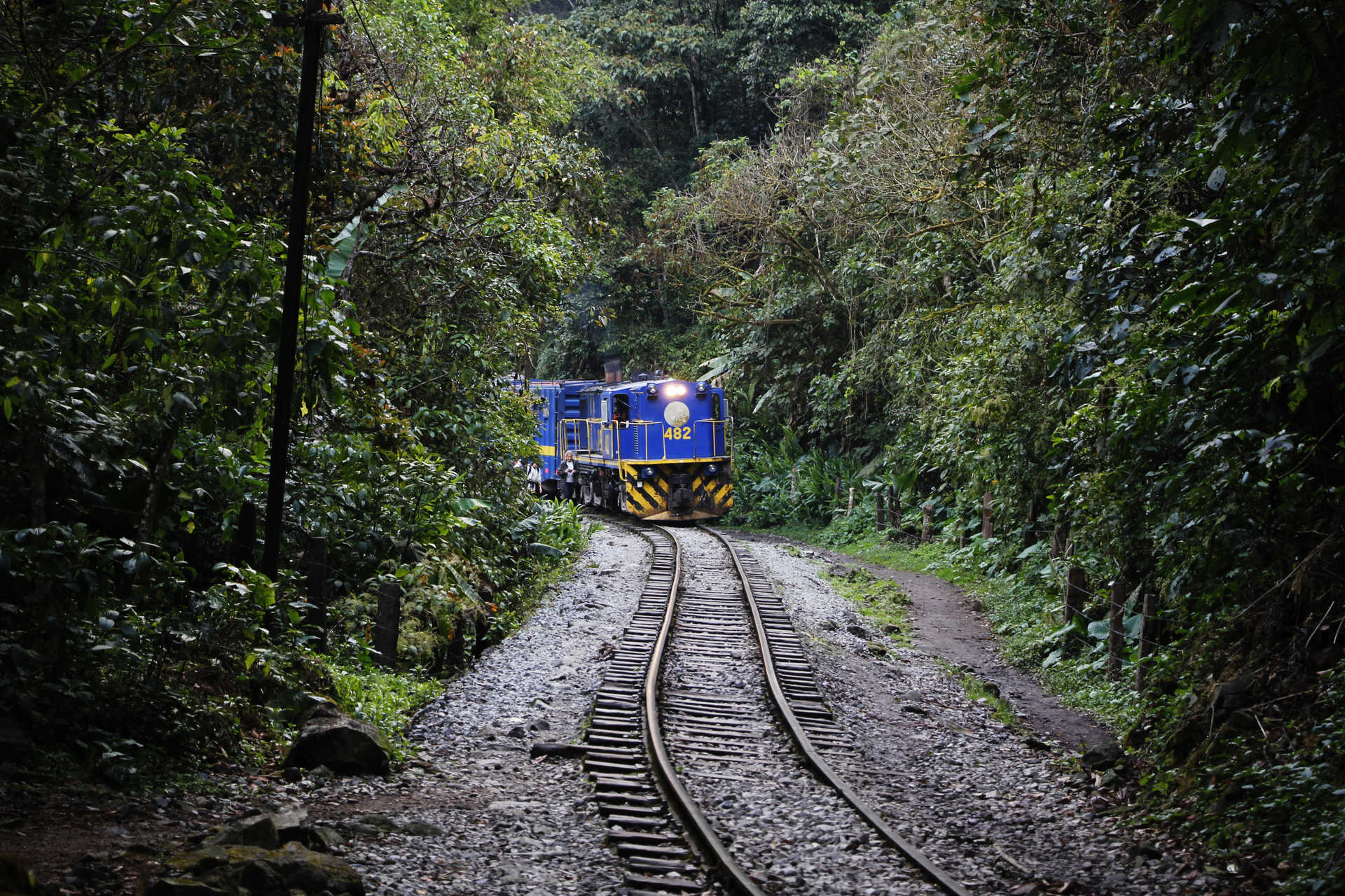 Touristic train going to Aguas Calientes