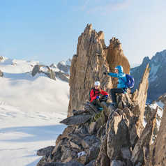 Climbing ascent in Mont Blanc Massif