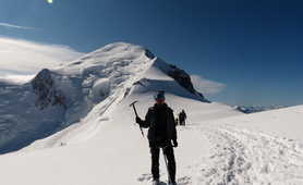 Climber getting to the top of the Mont Blanc
