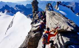 Climbers on the top of Gran Paradiso