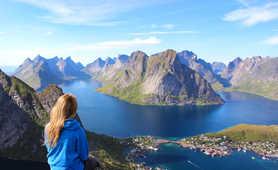 From Reinebringen, panoramic view on Lofoten islands