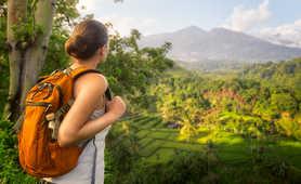Hiker in Bali's rice fields