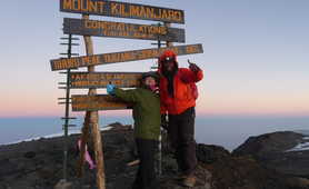 Hikers at the summit of Kilimanjaro