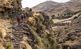 Hikers in the Sacred Valley, region of Cusco