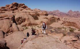 Hikers in Wadi Rum desert