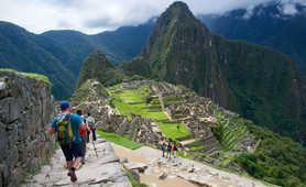 Hikers visiting Machu Picchu lost city