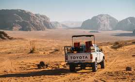 Jeep in the Wadi Rum desert