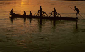 Pirogue at sunset in Chitwan National Park