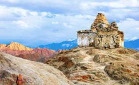 Stone temple on Bhutan's mountains