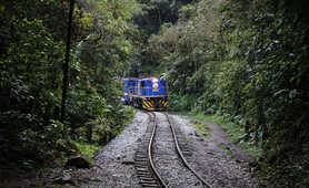 Touristic train going to Aguas Calientes