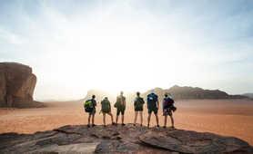 Trekkers in Wadi Rum, Jordan