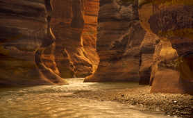 Water flowing through a deep canyon in Jordan