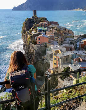 Hiker in Cinque Terre, Italy