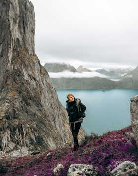 Hiker in fjords