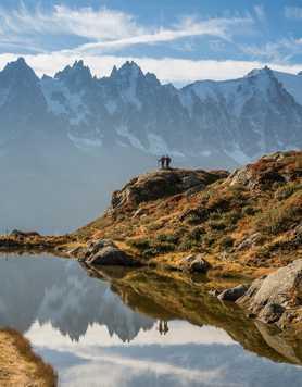 Hikers near the Lac Flégère, during the Mont Blanc Tour