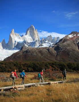 Trek in El Chalten, with the Fitz Roy mountains in the background