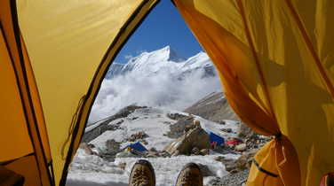 Basecamp in front of the Dhaulagiri