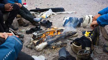 Fire camp in Arctic, Spitsbergen