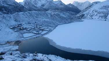 Gokyo lake covered with snow from Gokyo Ri