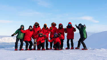 Group of travelers in Svalbard