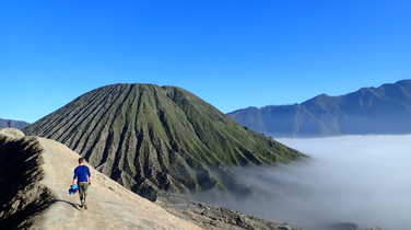 Hiker on his way to Bromo vulcano