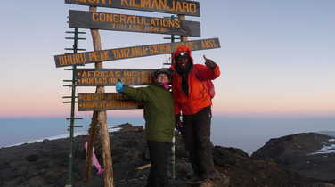 Hikers at the summit of Kilimanjaro