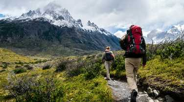 Hikers during the W trek in Patagonia
