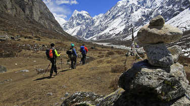 Hikers in the Langtang Valley