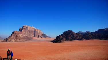 Hikers in the Wadi Rum desert