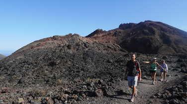 Hikers on volcano Teneguia