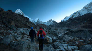 Hiking before sunrise in the Everest region