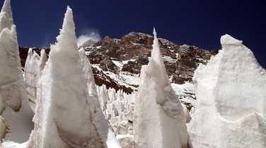 Ice cones close to the Aconcagua summit