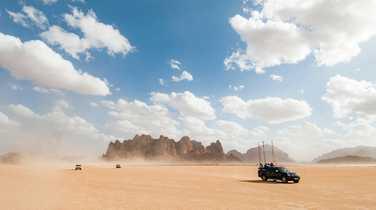 Jeeps in the Wadi Rum desert