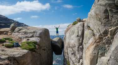 Jumping on Kjeragbolten