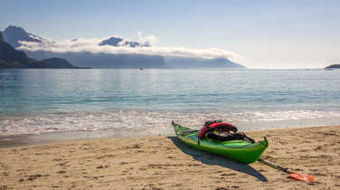 Kayak on the beach in Lofoten