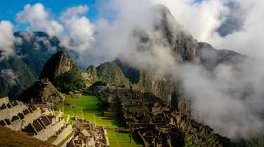 Mystical Machu Picchu through clouds