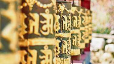 Prayer wheels in Bhutan