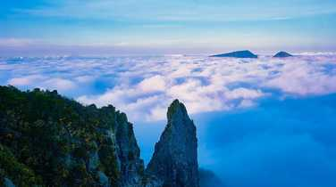 Rocky peaks above the clouds on Reunion Island