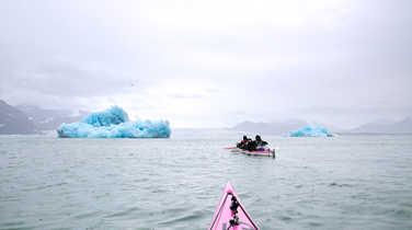 Sea kayaking among blue icebergs