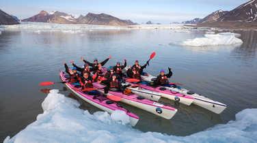 Sea kayaking in King's Bay in Spitsbergen