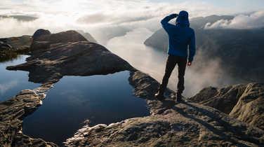 Trekker in the Lofoten Islands
