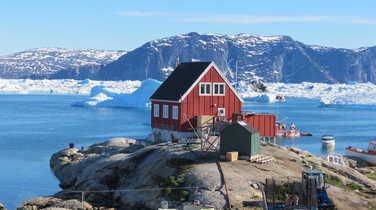 Typical red house in the Disko Bay