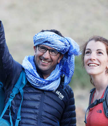 Hiker and guide in the High Atlas region