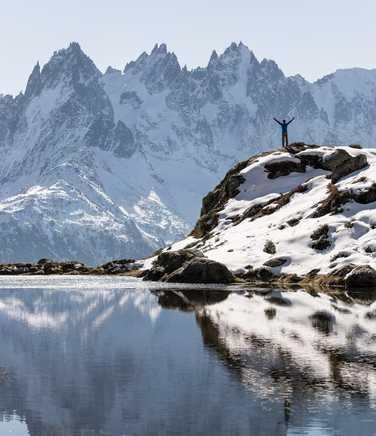 Hiker near the Lac Flégère, during the Mont Blanc Tour