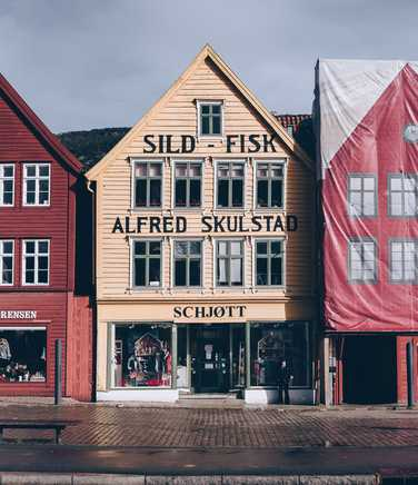 Old fashioned shop front in Bergen