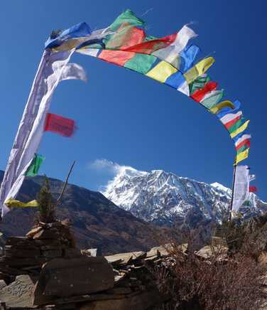 Tibetan flags in the Manang Valley
