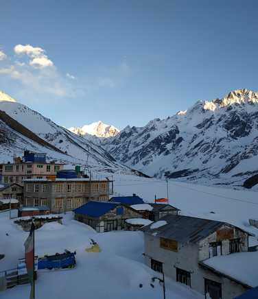 Village covered with snow in the Langtang Valley