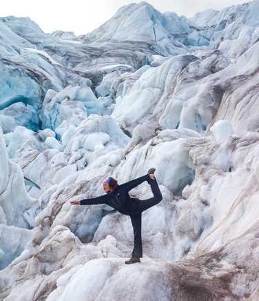 Walk on glacier in Arctic