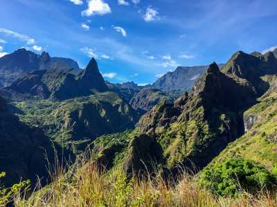 The jagged and green landscape of Reunion Island